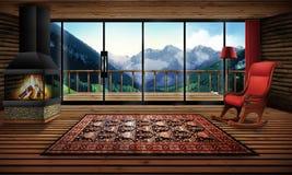 Kabina w górach ilustracja wektor