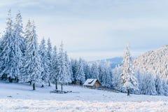 Kabine in den Bergen im Winter Geheimnisvoller Nebel In Erwartung der Feiertage karpaten Ukraine, Europa Lizenzfreie Stockbilder
