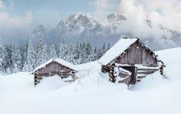 Kabine in den Bergen im Winter Geheimnisvoller Nebel In Erwartung der Feiertage karpaten Ukraine, Europa Glückliches neues… Bier! Lizenzfreie Stockfotografie