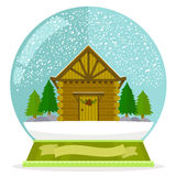 Kabine in einer Schneekugel Lizenzfreie Stockfotos