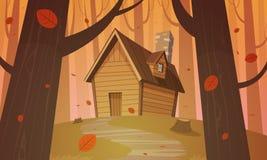 Kabine im Holz - Herbst lizenzfreie abbildung