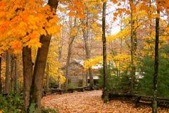 Kabine im Holz mit Herbst Lizenzfreie Stockfotos