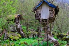 Kabine im Wald Stockbild