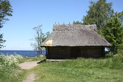 Kabine mit thatched Dach Stockfotos