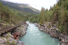 Kabinen bedömer på den Sjoa floden i Norge Arkivfoto