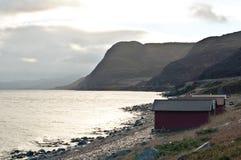 Kabinen an der Küste der Nordsee, Norwegen Lizenzfreie Stockfotos