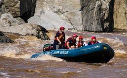 Kabinen-John River Rescue-Mannschaft auf Patrouille Stockbilder