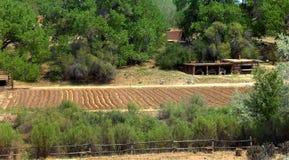 Kabinen und Garten an EL Rancho Del Las Golondrinas Stockbild