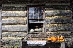 Kabinenfenster mit Kürbisen lizenzfreies stockfoto