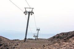 Kabinenkabelbahn auf Ätna-Vulkan, Lipari, Sizilien lizenzfreies stockfoto