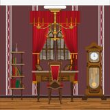 Kabinet of woonkamerbinnenland met groot venster en grote klok royalty-vrije stock afbeelding