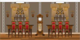 Kabinet of woonkamerbinnenland met grote lijsten en stoelen stock foto