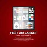 Kabinett der ersten Hilfe muss Medizin für Hauptgebrauch haben Stockbild