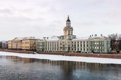 Kabinett Kuriositäten in St Petersburg an der Dämmerung im Winter Lizenzfreies Stockfoto