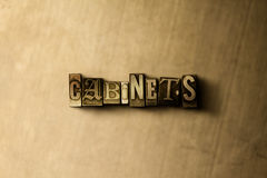KABINETTEN - close-up van grungy wijnoogst gezet woord op metaalachtergrond Stock Fotografie