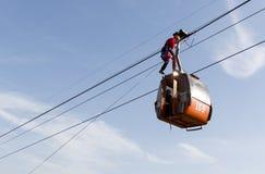 Kabinowy narciarskiego dźwignięcia oszczędzanie Zdjęcia Royalty Free