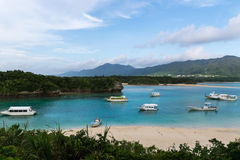 Kabira海湾在石垣岛,冲绳岛日本 免版税图库摄影