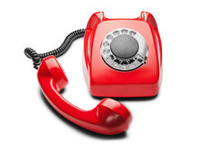 Kabla naziemnego czerwony telefon na odosobnionym białym tle Zdjęcie Stock