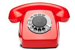 Kabla naziemnego czerwony telefon na odosobnionym białym tle Zdjęcia Royalty Free