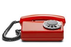 Kabla naziemnego czerwony telefon na odosobnionym tle z cieniem Zdjęcia Stock