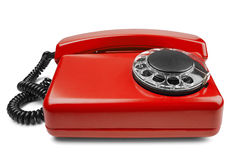 Kabla naziemnego czerwony telefon na odosobnionym tle z cieniem Fotografia Royalty Free