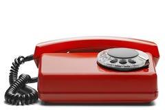 Kabla naziemnego czerwony telefon na odosobnionym tle z cieniem Zdjęcia Royalty Free