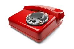 Kabla naziemnego czerwony telefon na odosobnionym tle z cieniem Zdjęcie Stock