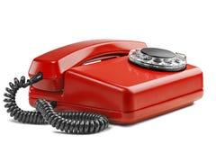 Kabla naziemnego czerwony telefon na odosobnionym tle z cieniem Zdjęcie Royalty Free