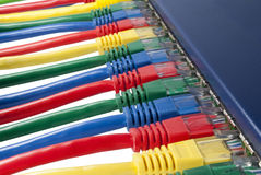 kablar förband routeren för Ethernetnätverket till Arkivfoto