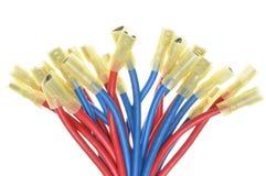Kablar med terminaler som används i elektriska installationssystem Arkivbilder