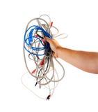 kabli komputerowy chwytów ręki stereo Zdjęcia Royalty Free