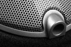 Kablowa dźwigarka słuchawki zakończenie Muzykalny lub przemysłowy tło zdjęcie stock