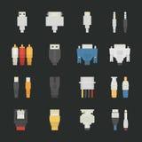 Kablowe druciane komputerowe ikony z czarnym tłem Zdjęcia Stock