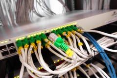 Kablowy lan w komputerowym serweru pokoju Obrazy Stock