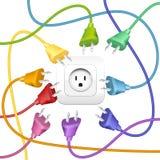 Kablowy zagracenie Czopuje Gniazdkowych kolory Obrazy Stock