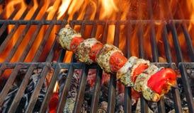 Kabob on BBQ grill stock photo