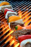 Kabob on BBQ grill with hot flames Stock Photos