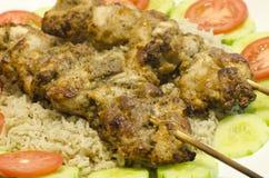 Kabob délicieux de poulet de malai de murg avec du riz Image libre de droits