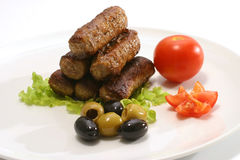 Kabob pyramid on white dish Royalty Free Stock Image