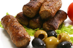 Kabob rolls and olives Royalty Free Stock Images