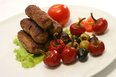 Kabob rolls with olives pepper Royalty Free Stock Image