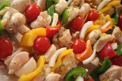 Kabobs. These are raw chicken and vegetable kabobs about to go on the grill Stock Image