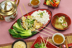 Kabobs asiáticos da galinha fotos de stock royalty free