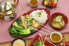 Kabobs asiáticos del pollo fotos de archivo libres de regalías