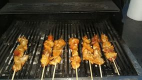 Kabobs, bbq, chicken, party, royalty free stock images