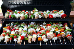 Kabobs on grill Stock Photography