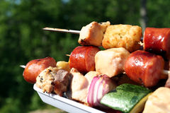 Kabobs On The Grill. Shish Kabobs Stock Photo