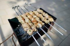 Kabobs grilled on metal skewers Royalty Free Stock Photo