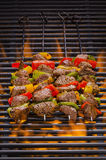 Kabobs on a Hot flaming Grill Stock Photography
