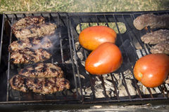 Kabobs and Tomatoes on a charcoal grill Stock Photo